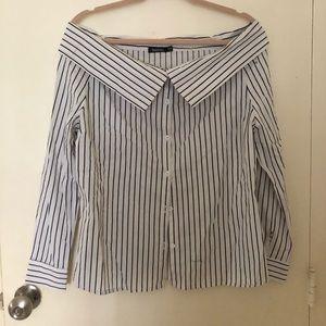 Boohoo button-up cross shoulder shirt